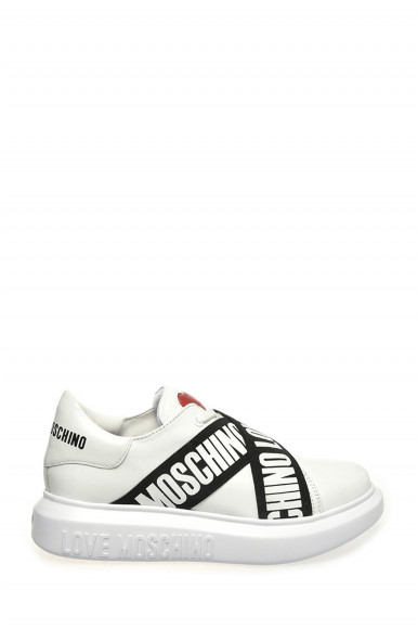 LOVE MOSCHINO SNEAKERS BIANCHE IN VITELLO 15254