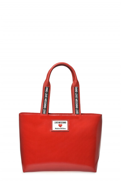 LOVE MOSCHINO SHOPPER SPORTY LABEL ROSSA CANVAS 4030
