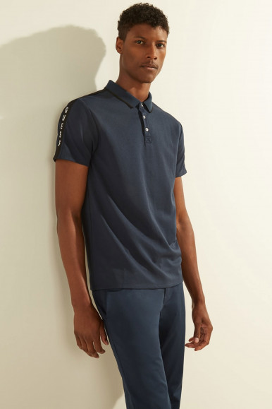 GUESS POLO UOMO BLU PIQUE TAPE