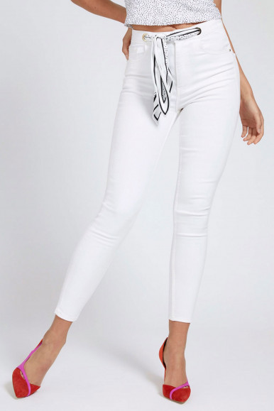 GUESS JEANS DONNA BIANCO SUPER HIGH FOULARD