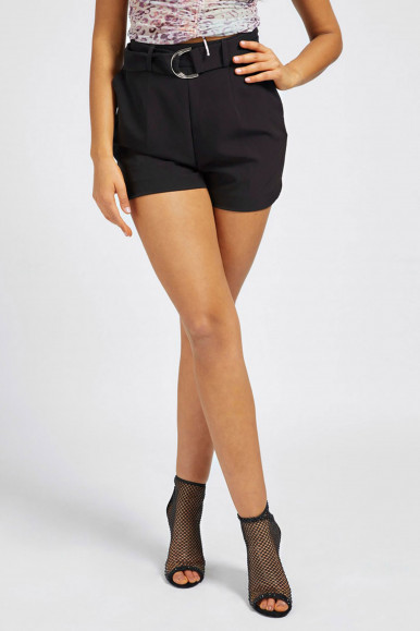 GUESS SHORT DONNA NERO CON CINTURA NEW SUZY