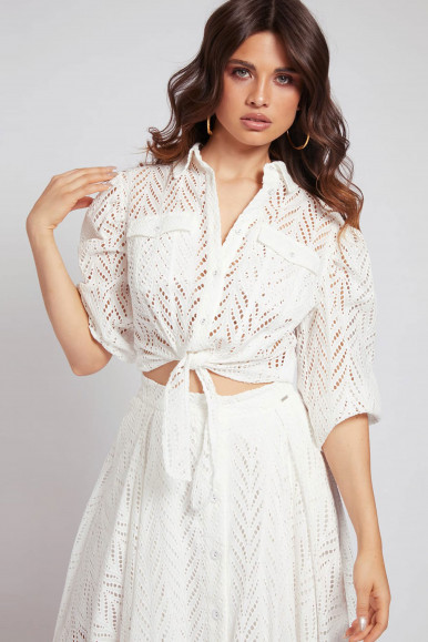 GUESS CAMICIA DONNA BIANCA IN PIZZO PHOEBE