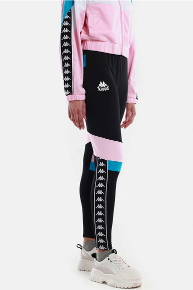 KAPPA LEGGINGS DONNA NERO-ROSA FOOTBALL ESHU