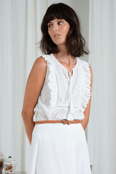 MOLLY BRACKEN TOP G799E21 BIANCO