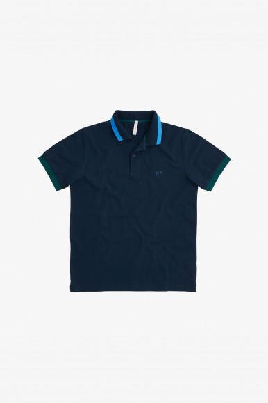 SUN 68 POLO BLU BIG STRIPES A31111