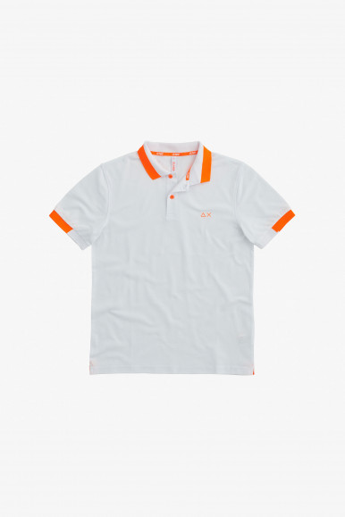 SUN 68 POLO BIANCO BIG ST FLUO A31119