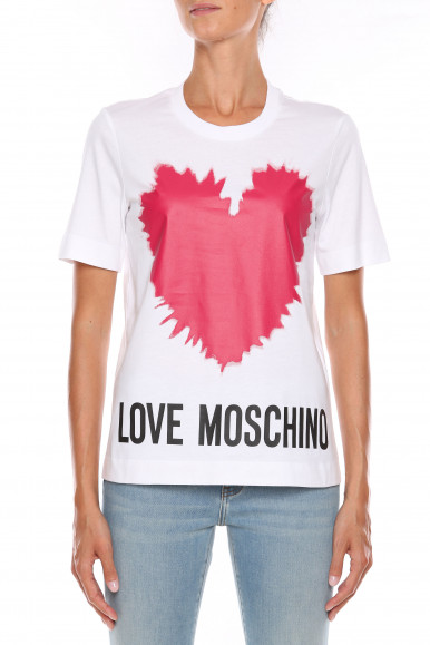 MOSCHINO T-SHIRT DONNA BIANCA CUORE W4F15-3A