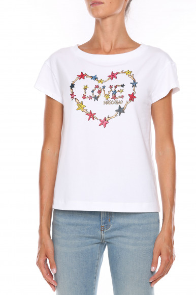 MOSCHINO T-SHIRT DONNA BIANCA LOVE W4F30-2L