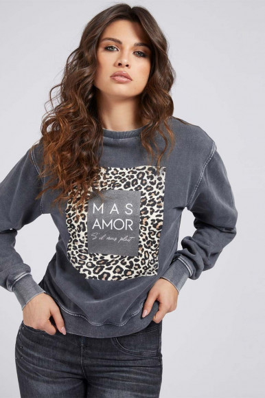 GUESS WOMAN'S GREY-SPOTTED SWEATSHIRT