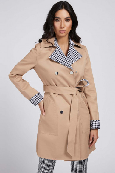GUESS BAIGE-PLAID WOMAN REVERSIBLE TRENCH SANDRA