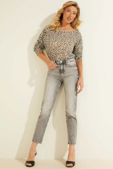GUESS PINK ANIMALIER STAMP JERSEY INES VN LS SWTR