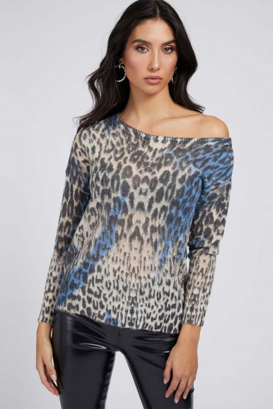 GUESS MAGLIA STAMPA ANIMALIER BLU DONNA INES VN LS SWTR