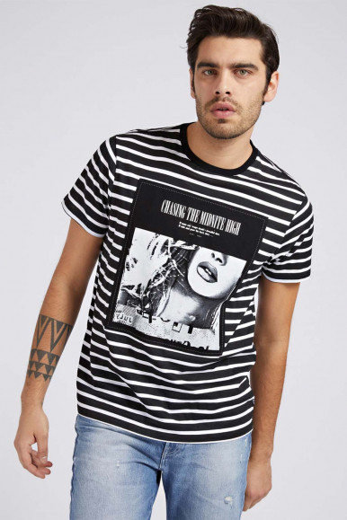GUESS T-SHIRT UOMO NERA A RIGHE SS APPL