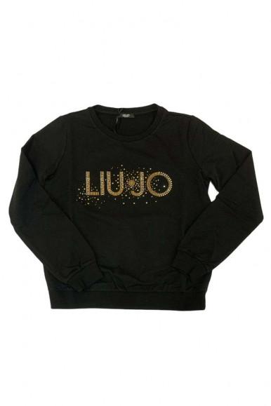 LIU JO WOMAN BLACK SWEATER WITH GOLDEN STRASS 1224-S9053