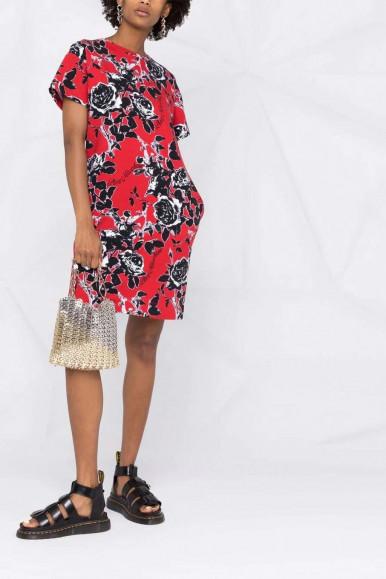 MOSCHINO WOMAN RED DRESS BLACK FLOWERS 5B11-00