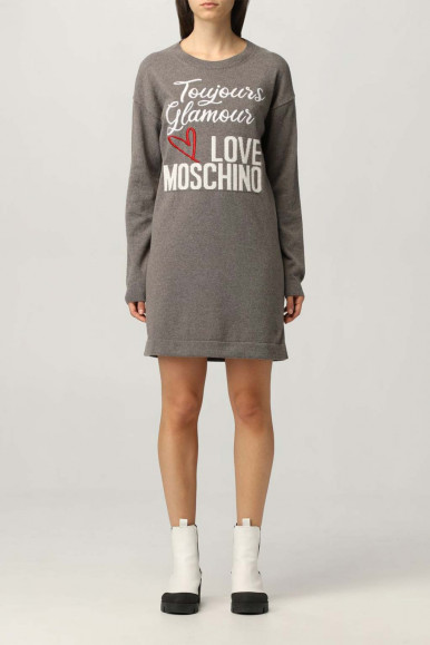 MOSCHINO WOMAN SHORT GREY DRESS LONG SWEATER  S57R-11