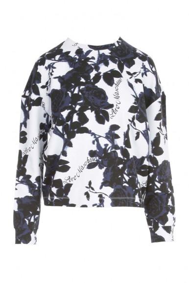 MOSCHINO WOMAN WHITE/BLACK FLOWER SWEATER 6404-00