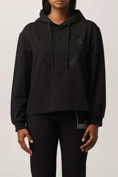 MOSCHINO WOMAN BLACK STRASS SWEATER 6437-02