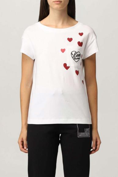 MOSCHINO WOMAN WHITE HEART T-SHIRT 4H19-09