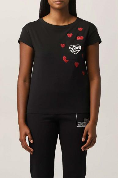 MOSCHINO WOMAN BLACK HEART T-SHIRT 4H19-09