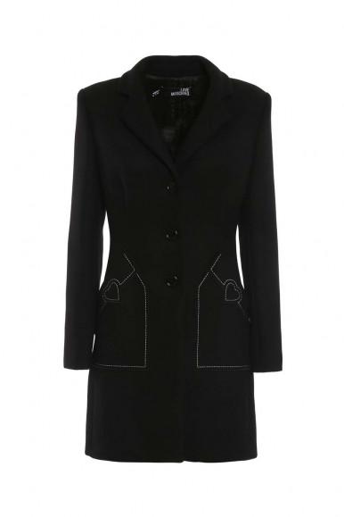 MOSCHINO WOMAN BLACK OVERCOAT K514-01