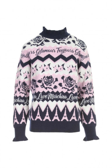 MOSCHINO PINK/BLUE ROSE PULLOVER  S79G-10