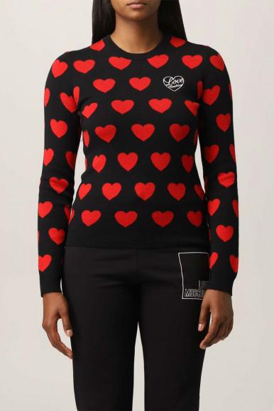 MOSCHINO BLACK WOMAN SHIRT RED HEARTS S84G-11