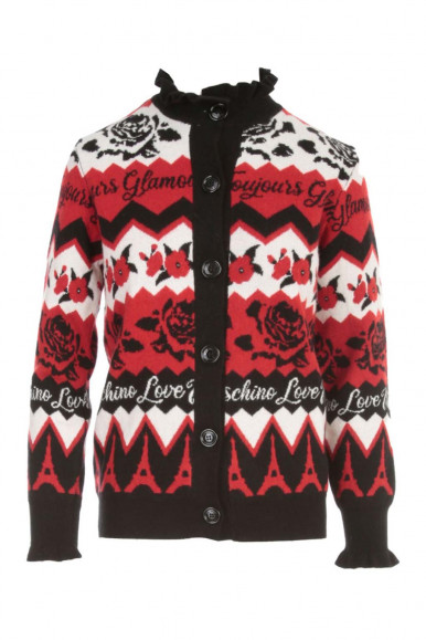 MOSCHINO RED WOMAN CARDIGAN WITH ROSES SH95-10