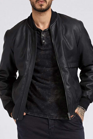 GUESS MAN'S BLACK LEATHER BOMBER