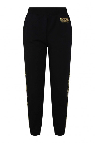MOSCHINO WOMAN'S  BLACK SWEATSHIRTED TROUSERS WITH SIDE DETAIL 4317