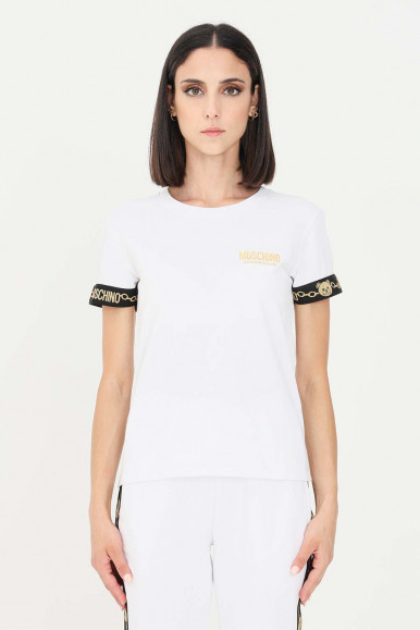 MOSCHINO WOMAN'S WHITE T-SHIRT SHORT SLEEVES WITH TEDDY BEARS 1915