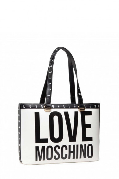 LOVE MOSCHINO WOMAN'S BLACK-WHITE BAG 4180