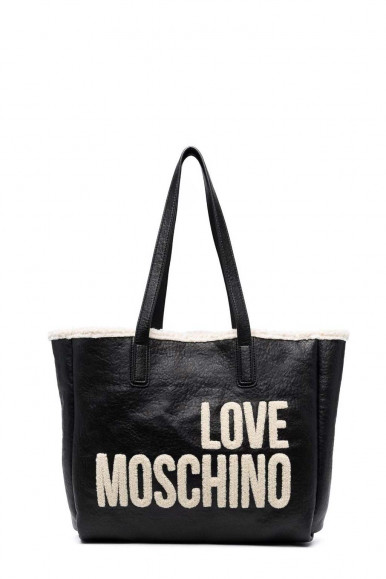 LOVE MOSCHINO WOMAN'S BLACK PLUSH SHOUDLER BAG 4285