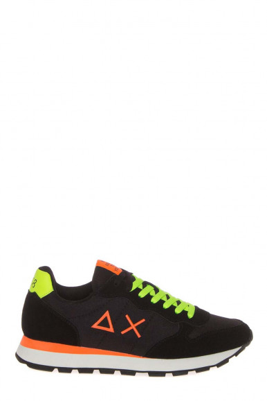 SUN 68 MEN'S BLACK SNEAKERS WITH FLUO YELLOW LACES Z41102