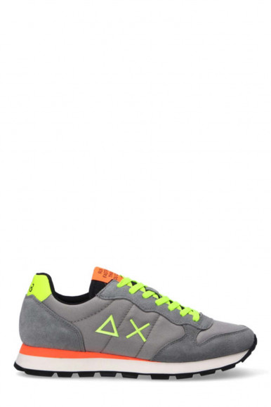 SUN 68 MEN'S GREY SNEAKERS WITH FLUO YELLOW LACES Z41102