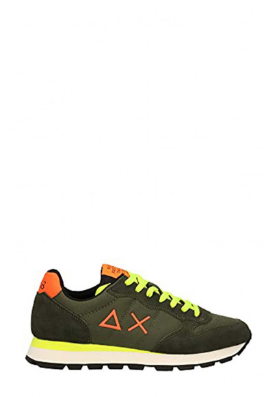 SUN 68 MEN'S GREEN SNEAKERS WITH FLUO YELLOW LACES Z41102