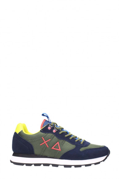SUN 68 MAN'S MILITARY GREEN-BLUE SNEAKERS TOM GOES  Z41108