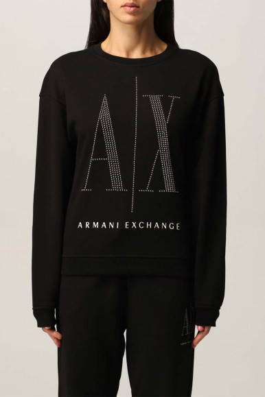 ARMANI EXCHANGE BLACK WOMAN'S SWEATSHIRT WITH A/X STRASS8NYM01