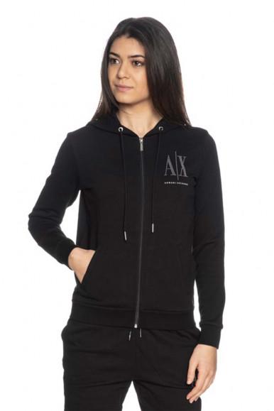 ARMANI EXCHANGE BLACK WOMAN'S A/X HOODIE 8NYM21