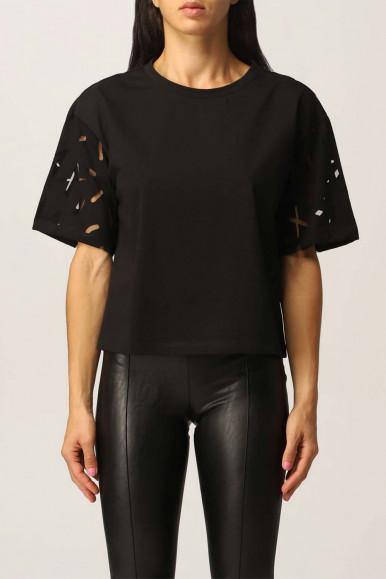 ARMANI EXCHANGE BLACK WOMAN'S T-SHIRT WITH HOLES 6KYTAB