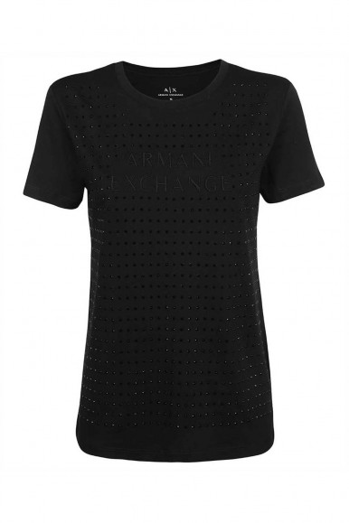 ARMANI EXCHANGE BLACK WOMAN'S A/X T-SHIRT WITH STRASS 6KYTAX