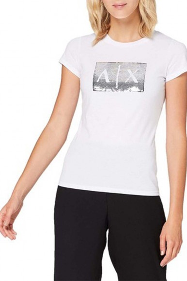 ARMANI EXCHANGE T-SHIRT BIANCA-ARGENTO A/X DONNA 8NYTDL