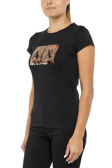 ARMANI EXCHANGE BLACK-BRONZE WOMAN'S T-SHIRT 8NYTDL
