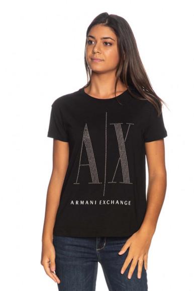 ARMANI EXCHANGE BLACK WOMAN'S A/X T-SHIRT 8NYTDX