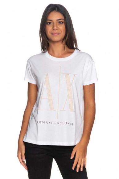 ARMANI EXCHANGE WHITE WOMAN'S A/X T-SHIRT 8NYTDX
