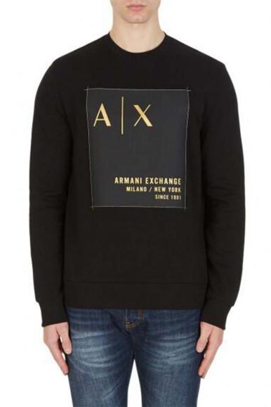 ARMANI EXCHANGE BLACK MAN'S A/X SWEATSHIRT 6KZMDB