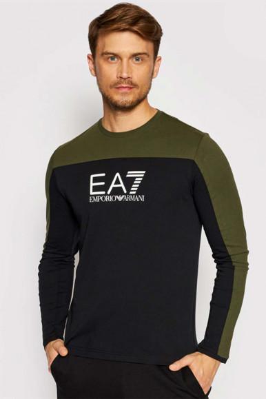 EA7 T-SHIRT A MANICHE LUNGHE NERO-VERDE UOMO 6KPT11