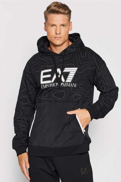 EA7 BLACK-FANTASY MAN'S SWEATSHIRT WITH CAP 6KPM26