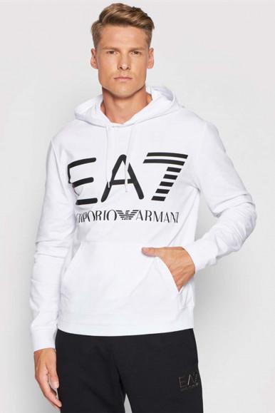 EA7 WHITE-BLACK MAN'S HOODIE 6KPM69