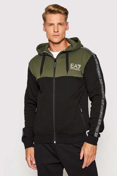 EA7 BLACK-GREEN MAN'S HOODIE WITH ZIP 6KPMB2